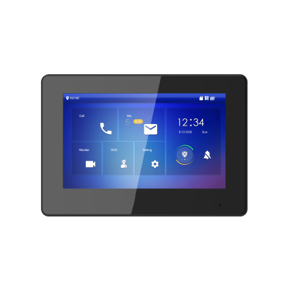 "TURM IP Video Türsprechanlage 7"" LCD Touchscreen Hybrid Monitor Innenstation 2Draht + PoE schwarz"