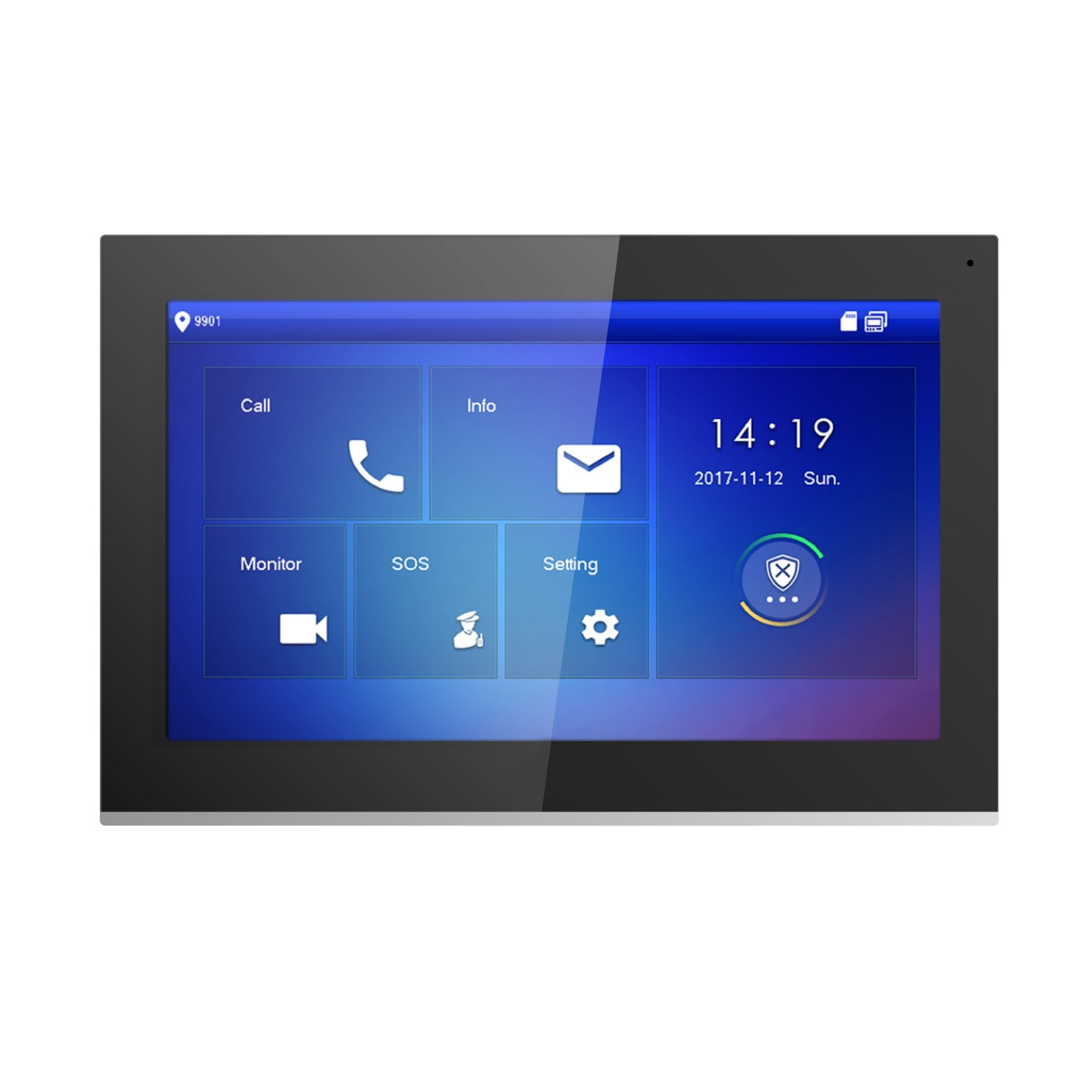 "TURM IP Video Türsprechanlage 10"" Touchscreen Innenstation LCD Monitor in schwarz"