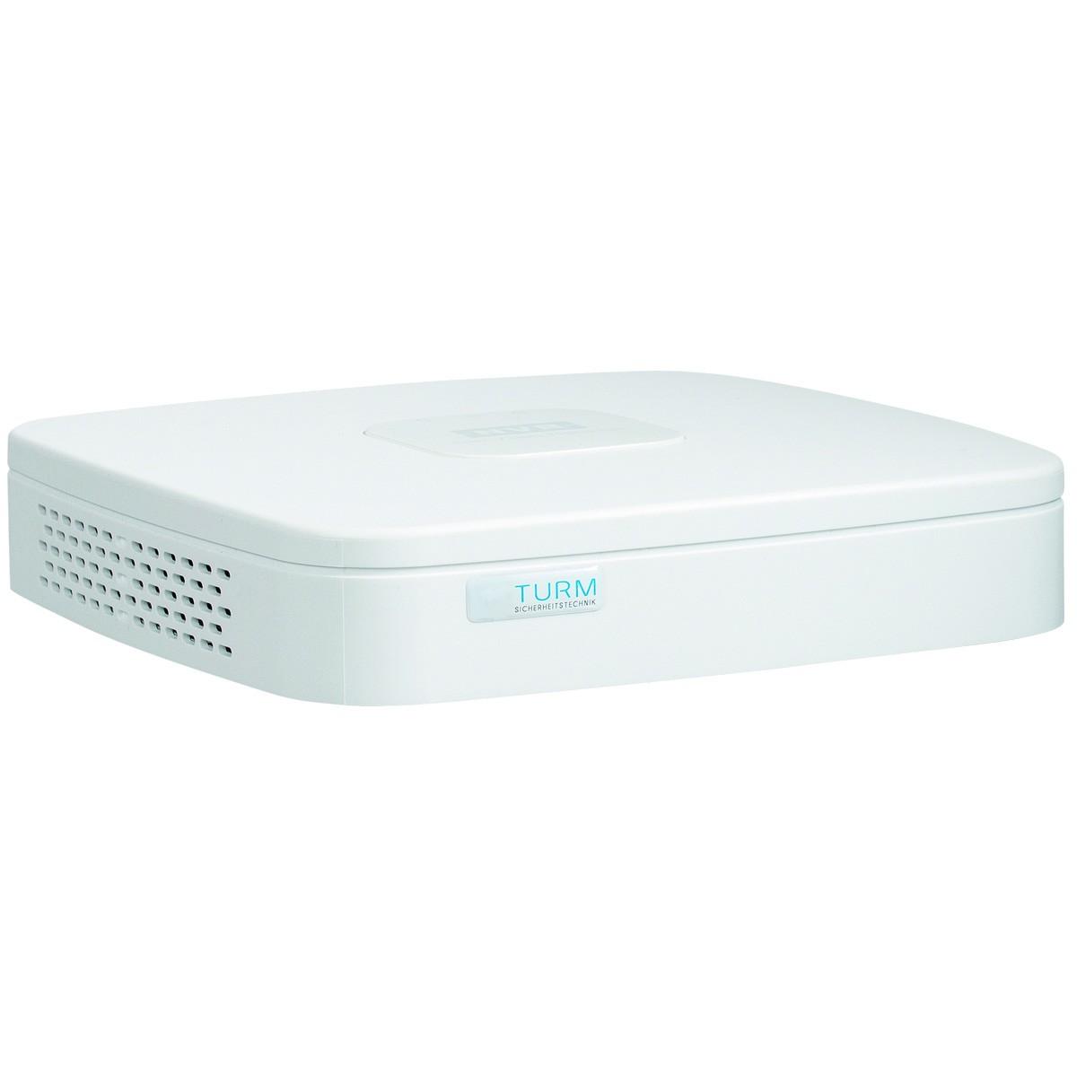 TURM Lite NVR Rekorder für 4 IP Netzwerk Kameras mit 4x PoE und H.265 Kompression