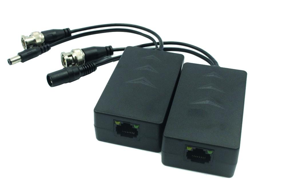 TURM HDCVI Passiv Balun Paar, Videoüberwachung von Ethernet (RJ45) auf BNC und DC, 720p (max. 400m),