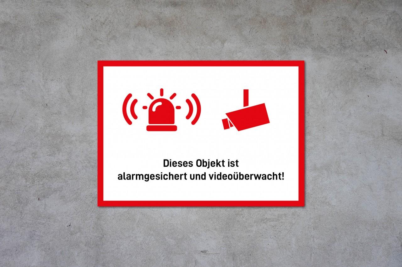 Alarmsicherung und Videoüberwachung Hinweisschild